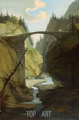 Bridge over the Muota near Schwyz,  | Caspar Wolf| Painting Reproduction