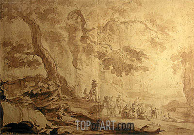 Landscape with Traveling Party, 1768 | Caspar Wolf | Painting Reproduction