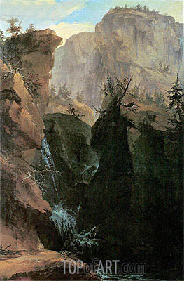 Caspar Wolf | Rocky Gorge with Waterfalls and Pass Route, 1775