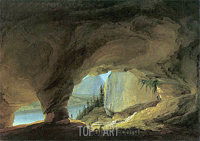 The Interior of the Beatushohle with Views of Thunersee, 1776 | Caspar Wolf | Gemälde Reproduktion