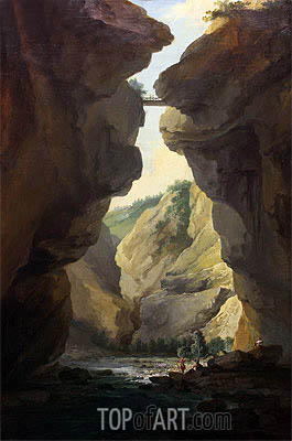 Caspar Wolf | Bridge and Gorges of Dala River in Leuekerbad, View towards the Mountain, c.1774/77