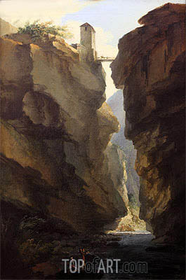Caspar Wolf | Bridge and Gorges of Dala River in Leuekerbad, View towards the Valley, c.1774/77