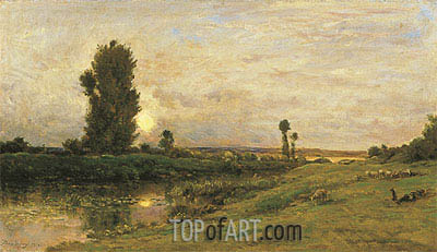 Moonrise on the Banks of the River Oise, 1874 | Charles-Francois Daubigny | Painting Reproduction