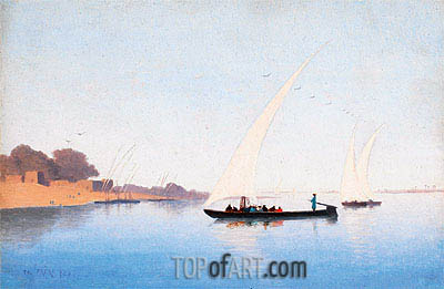 Charles-Theodore Frere | Boats on the Nile,