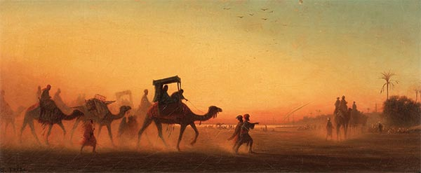 Caravan at Sunset,  | Charles-Theodore Frere | Gemälde Reproduktion
