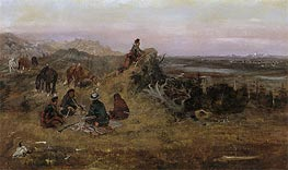 The Piegans Preparing to Steal Horses from the Crows, 1888 by Charles Marion Russell | Painting Reproduction
