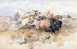 A Kiowa's Odyssey: The Buffalo Hunt, 1877 by Charles Marion Russell | Painting Reproduction