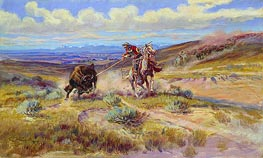 Spearing a Buffalo, 1925 by Charles Marion Russell | Painting Reproduction