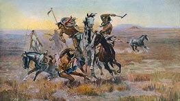 When Sioux and Blackfeet Met, 1902 by Charles Marion Russell | Painting Reproduction
