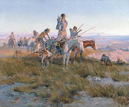 In the Wake of the Buffalo Runners, 1911 by Charles Marion Russell | Painting Reproduction