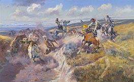 A Tight Dally and a Loose Latigo, 1920 by Charles Marion Russell | Painting Reproduction
