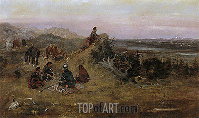 The Piegans Preparing to Steal Horses from the Crows, 1888 | Charles Marion Russell| Painting Reproduction