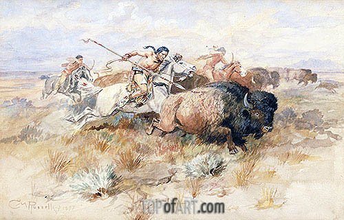 A Kiowa's Odyssey: The Buffalo Hunt, 1877 | Charles Marion Russell| Painting Reproduction