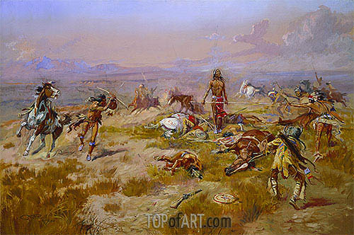 The Death Song of Lone Wolf, 1901 | Charles Marion Russell| Painting Reproduction