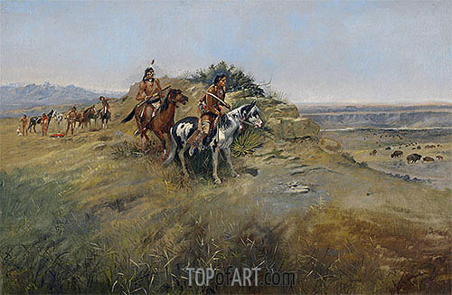 Buffalo Hunt, 1891 | Charles Marion Russell| Painting Reproduction