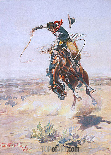 A Bad Hoss, 1904 | Charles Marion Russell| Painting Reproduction