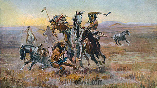 When Sioux and Blackfeet Met, 1902 | Charles Marion Russell| Painting Reproduction
