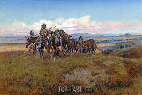 In the Enemy's Country, 1921 | Charles Marion Russell| Painting Reproduction