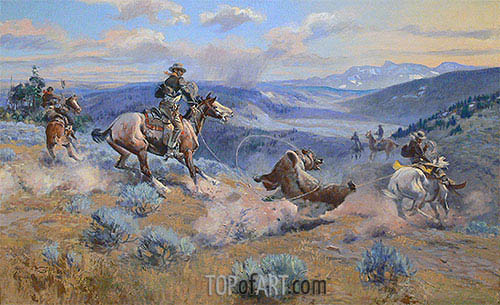 Charles Marion Russell | Loops and Swift Horses are Surer than Lead, 1916