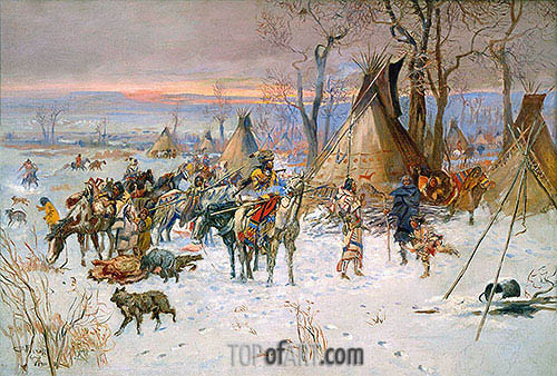 Indian Hunters' Return, 1900 | Charles Marion Russell| Painting Reproduction