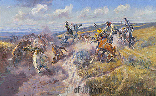 A Tight Dally and a Loose Latigo, 1920 | Charles Marion Russell | Painting Reproduction