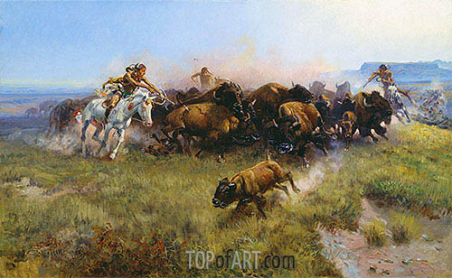 The Buffalo Hunt, 1919 | Charles Marion Russell| Painting Reproduction