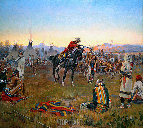 Single-Handed, 1912 | Charles Marion Russell | Painting Reproduction