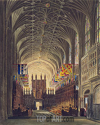 Interior of St. George's Chapel, Windsor Castle, 1819 | Charles Wild| Gemälde Reproduktion
