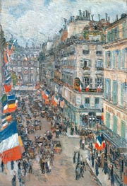 July Fourteenth, Rue Daunou, 1910, 1910 by Hassam | Painting Reproduction