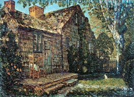 Little Old Cottage, Egypt Lane, East Hampton, 1917 by Hassam | Painting Reproduction