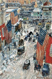 Flags on Fifty-seventh Street, The Winter of 1918, 1918 von Hassam | Gemälde-Reproduktion
