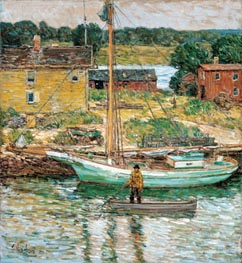 Oyster Sloop, Cos Cob | Hassam | outdated