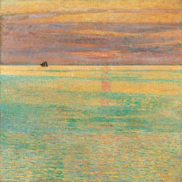 Sunset at Sea, 1911 by Hassam | Painting Reproduction