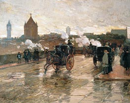 Clearing Sunset (Corner of Berkeley Street and Columbus Avenue), 1890 by Hassam | Painting Reproduction
