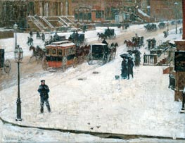 Fifth Avenue in Winter, c.1890 by Hassam | Painting Reproduction