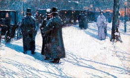 Cab Stand at Night, Madison Square, 1891 by Hassam | Painting Reproduction