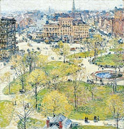 Union Square in Spring, 1896 by Hassam | Painting Reproduction