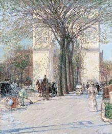 Washington Arch, Spring, c.1893 by Hassam | Painting Reproduction
