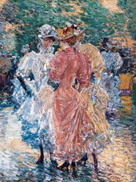 Conversation on the Avenue, 1892 by Hassam | Painting Reproduction