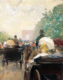 Carriage Parade, 1888 by Hassam | Painting Reproduction