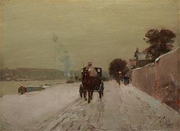 Along the Seine, Winter, 1887 by Hassam | Painting Reproduction