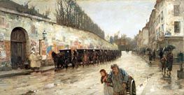 Une Averse - rue Bonaparte, 1887 by Hassam | Painting Reproduction