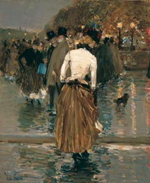Promenade at Sunset, Paris, c.1888/89 by Hassam | Painting Reproduction