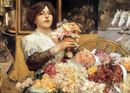 The Rose Girl, c.1888 by Hassam | Painting Reproduction
