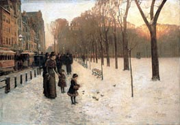 Boston Common at Twilight, c.1885/86 by Hassam | Painting Reproduction