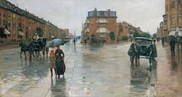 Rainy Day, Columbus Avenue, Boston, 1885 by Hassam | Painting Reproduction