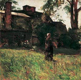 The Old Fairbanks House, Dedham, Massachusetts, c.1884 by Hassam | Painting Reproduction