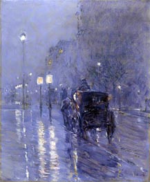 Evening in New York (Rainy Midnight), c.1890 by Hassam | Painting Reproduction