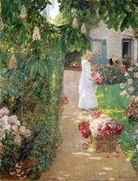 Gathering Flowers in a French Garden, 1888 by Hassam | Painting Reproduction