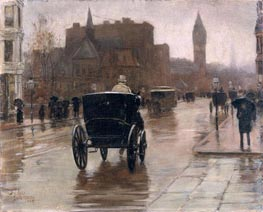 Columbus Avenue, Rainy Day, 1885 by Hassam | Painting Reproduction